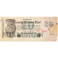 Germany Note 1923 20 Million Mark 6 Digit, VF (damaged)