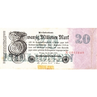 Germany Note 1923 20 Million Mark 7 Digit, VF (tape)