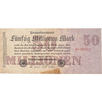 Germany Note 1923 50 Million Mark 7 Digit, VF (tape)