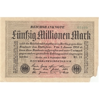 Germany Note 1923 50 Million Mark, AU (damaged)