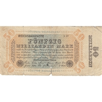 Germany Note 1923 50 Billion Mark, VG (damaged)