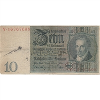 Germany Note 1929 10 Reichsmark, F (stain)