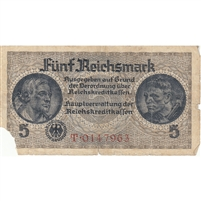 Germany Note 1940-45 5 Reichsmark 7 Digit, F (damaged)