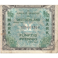 Germany Note 1944 1/2 Mark 9 Digit, VF (soiled)