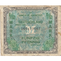 Germany Note 1944 1/2 Mark 9 Digit, VF (writing)