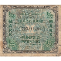 Germany Note 1944 1/2 Mark 9 Digit, VF (stain)