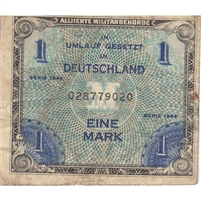 Germany Note 1944 1 Mark 9 Digit with F, VF (rust)