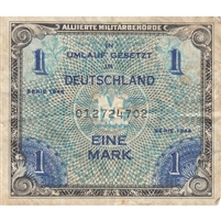 Germany Note 1944 1 Mark 9 Digit with F, VF (soiled)