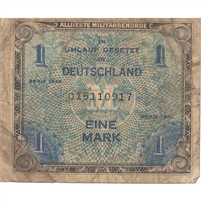 Germany Note 1944 1 Mark 9 Digit with F, F-VF (soiled)