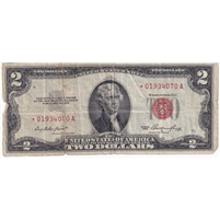 United States Note FR#1509 1953 $2, Star Note, VF (tears)