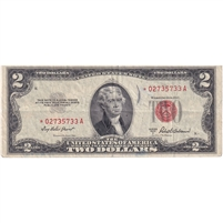 United States Note FR#1510 1953A $2, Star Note, VF (writing)
