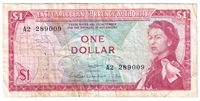 East Caribbean States Note Pick #13d 1965 1 Dollar, Signature 1, VF (stain)