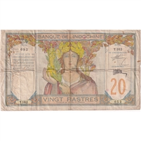 Indo China Note 1928-31 20 Piastres, Sig 7 F (dam'g)