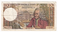France Note 1971 10 Francs, VF (holes)