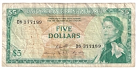 East Caribbean States Note Pick #14h 1965 5 Dollars, Signature 10, VF