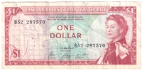 East Caribbean States Note Pick #13e 1965 1 Dollar, Signature 8, VF