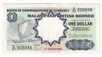 Malaya & British Borneo Note 1959 1 Dollar, EF