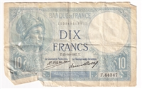 France Note 1927 10 Francs, VF (dam,g)