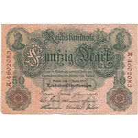 Germany Paper Money 1910 50 Mark, F