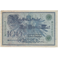 Germany Paper Money 1908 100 Mark, Green VF