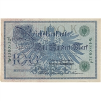 Germany Paper Money 1908 100 Mark, Green EF