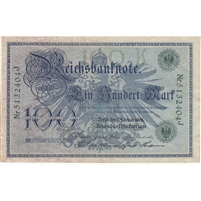 Germany Paper Money 1908 100 Mark, Green EF-AU