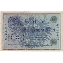 Germany Paper Money 1908 100 Mark, Green AU-UNC