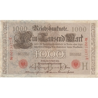 Germany Paper Money 1910 1000 Mark, Red F-VF