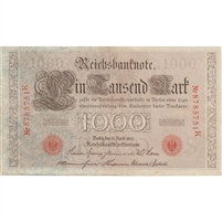Germany Paper Money 1910 1000 Mark, Red VF