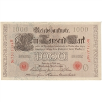 Germany Paper Money 1910 1000 Mark, Red VF-EF