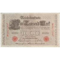 Germany Paper Money 1910 1000 Mark, Red EF