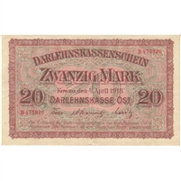 Germany Paper Money 1918 20 Mark, VF-EF