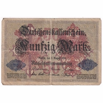 Germany Paper Money 1914 50 Mark, Seven Digit F