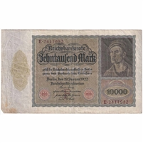 Germany Paper Money 1922 10,000 Mark, Eagle F