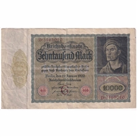 Germany Paper Money 1922 10,000 Mark, Eagle VF