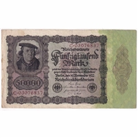 Germany Paper Money 1922 50,000 Mark, w/Under F