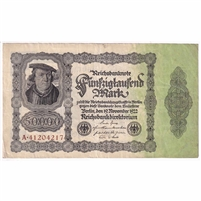 Germany Paper Money 1922 50,000 Mark, w/o Under VF
