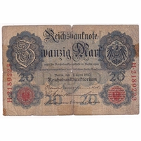 Germany Paper Money 1910 20 Mark, 7 Digit G (dam'g)