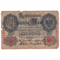 Germany Paper Money 1914 20 Mark, 7 Digit VG (dam'g)