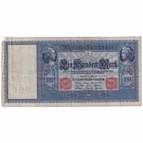 Germany Paper Money 1910 100 Mark, Red VF (dam'g)