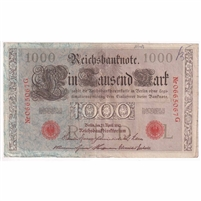 Germany Paper Money 1910 1000 Mark, Red VF (writ.)