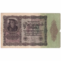 Germany Paper Money 1922 50,000 Mark, w/Under VF (dam'g)