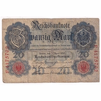 Germany Paper Money 1910 20 Mark, 7 Digit VG (hole)