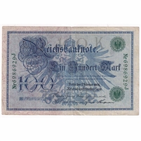Germany Paper Money 1908 100 Mark, Green VF (tear)