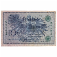 Germany Paper Money 1908 100 Mark, Green EF (hole)