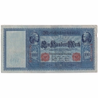 Germany Paper Money 1910 100 Mark, Red VF (tear)