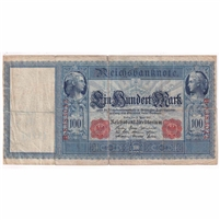 Germany Paper Money 1910 100 Mark, Red F (tears)
