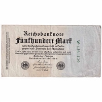 Germany Paper Money 1922 500 Mark, 7 digit Green F (dam'g)