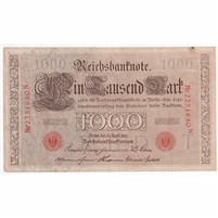Germany Paper Money 1910 1000 Mark, Red VF-EF (stain)