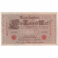 Germany Paper Money 1910 1000 Mark, Red EF (writ.)